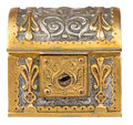Ancient golden treasure chest isolated on white a background with clipping path Royalty Free Stock Photography