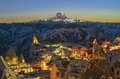 Ancient Goreme town and castle of Uchisar  at night Royalty Free Stock Photo