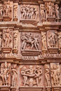 Ancient graphic details of sexuality at khajuraho india part the hindu temple complex built by the warrior chandela dynasty years Stock Photography