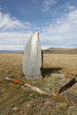 Ancient gravestones in the steppes of the Altai Stock Image