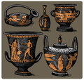 Ancient Greece, antique amphora set, vase with life scenes vintage, engraved hand drawn in sketch or wood cut style, old