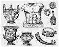 Ancient Greece, antique symbols, greek coins, heracles sculpture, anphora vintage, engraved hand drawn in sketch or wood Royalty Free Stock Photo