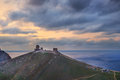 Ancient greek castle on the coast sunset above balaklava bay Stock Photography