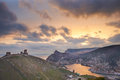 Ancient greek castle on the coast sunset above balaklava bay Royalty Free Stock Photos