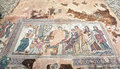 Ancient greek mosaic in paphos archaeological park at cyprus age of is circa rd century ad mosaics are included unesco Stock Photo