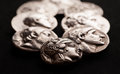Ancient greek silver coins closeup macro shot Royalty Free Stock Photo