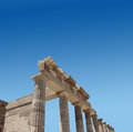 Ancient greek temple ruins antique facade acropolis lindos Royalty Free Stock Images
