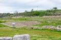 Ancient greek theater in Morgantina ruins, Sicily Royalty Free Stock Photo