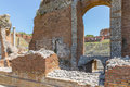 Ancient Greek theater of Taormina city at Sicily Royalty Free Stock Photo