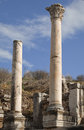 Ancient greek town of ephesus in turkey columns Stock Photo