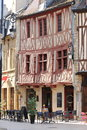 Ancient half-timbered houses and terrace, Dijon, France Royalty Free Stock Photo