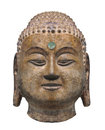 Ancient head statue of buddha isolated close up an chinese sculptured stone a with a gem for the third eye on white Royalty Free Stock Images