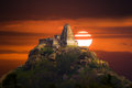 Ancient hilltop temple in southern india the of melkote during a stunning sunset home to a deity of narasimha Stock Photography
