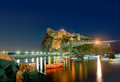 Ancient hotel and castle in Ischia island, Italy, at night Royalty Free Stock Photo