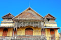Ancient house with old teak wood pattern background Stock Photo