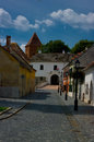 The ancient hungarian city közseg view of part of local castle Stock Photography