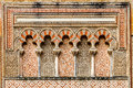 Ancient islamic building decoration detail of with arches and pillars on the outside of the great mosque of cordoba Stock Photo
