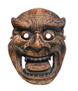 Ancient japanese mask isolated carved and painted wooden ritual on white Stock Photography