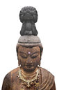 Ancient japanese sculpture isolated head bust of a buddhavista a teacher of buddhism on white Stock Image