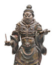 Ancient japanese statue isolated painted wooden of a shitenno a guardian figure on white Royalty Free Stock Photography