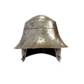 Ancient knight helmet military iron on white background isolated with clipping path Stock Images