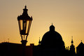 Ancient lamp in prague against sunrise Stock Photography