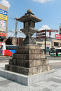 Ancient lantern in front of nara train station japan aug on august japan Stock Photo