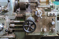 Ancient lathe machine in the factory Royalty Free Stock Images