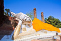 Ancient laying down buddha statue old in ayutthaya province of thailand Royalty Free Stock Photography