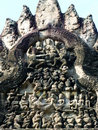 Ancient lintel stone carving at angkor wat of the folktale of ramayana Stock Photography