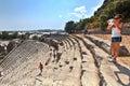 Ancient Lycian Myra Greek Theatre Ruins At Turkey Demre. Royalty Free Stock Photo