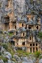 Ancient Lycian rock cut tombs Royalty Free Stock Photo