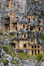 Ancient Lycian rock cut tombs Royalty Free Stock Photo