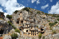 Ancient lycian tombs in demre carved into the rocks near the town of myra turkey Royalty Free Stock Photo