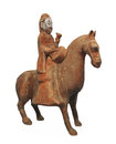 Ancient man on horse statue isolated. Stock Images