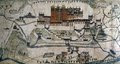 Ancient 1859 map of Lhasa, Potala Palace. Royalty Free Stock Photo
