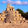 Ancient maya city of  Edzna X Royalty Free Stock Photo