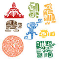 Ancient mayan and aztec totems or signs religious with colorful symbols of sun bird snake turtle fish lizard pyramid warrior Royalty Free Stock Photos