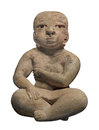 Ancient mayan female figure isolated clay statue of a woman sitting cross legged on white Royalty Free Stock Images