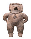 Ancient mayan figure isolated primitive clay of a woman on white Stock Photo