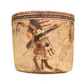 Ancient mayan pottery vessel isolated indian decorated with a depiction of a male native dancer on white Stock Image