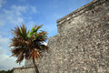 Ancient mayan stone temple at the caribbean cost of tulum mexico Stock Image