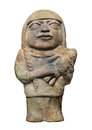 Ancient mayan woman figure isolated clay of a holding a child on white Stock Image