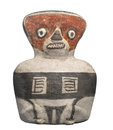 Ancient mayan woman figure isolated clay whistle in the form of a stylized of a sitting on white Royalty Free Stock Image