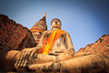 Ancient meditate buddha statue old in ayutthaya province of thailand Royalty Free Stock Photos