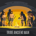 Ancient men making fire in cave Royalty Free Stock Photo
