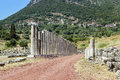 Ancient messene greece colonnade about stadium in Royalty Free Stock Photography