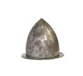 Ancient metal hat military iron knight on white background isolated with clipping path Royalty Free Stock Image