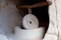 Ancient millstone in Zelve Open Air Museum in Cappadocia, Turkey Royalty Free Stock Photo