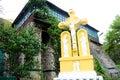 Ancient monastery. Village Saharna. Stone crucifix in orthodox monastery Saharna Royalty Free Stock Photo